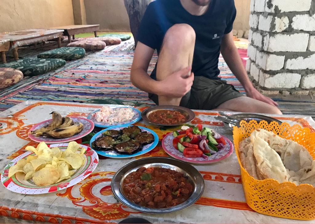 Table of Egyptian food in a Bahariya village.
