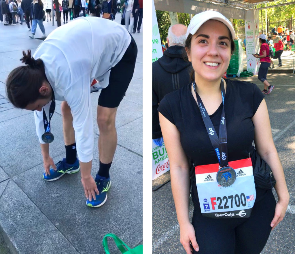 My boyfriend stretching and me with my medal after the Half Marathon race.