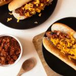 Vegan Chili Cheese Hotdogs with Vegan TVP Chili Sauce.