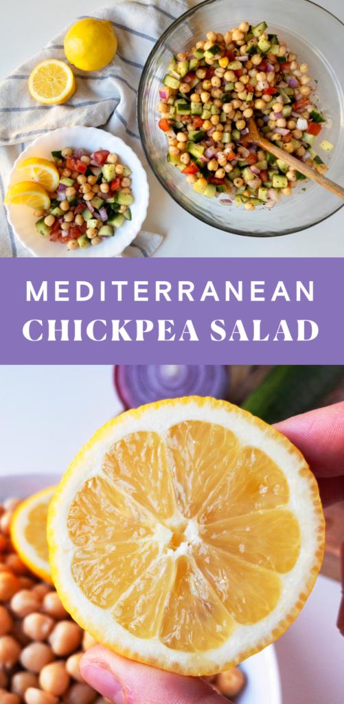 Mediterranean Chickpea Salad Pinterest image.