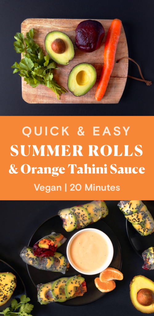 Avocado, Beets, Carrot, and Cilantro on a wooden cutting board. Spring rolls on plate blacks with Orange Tahini dressing in a small white bowl.