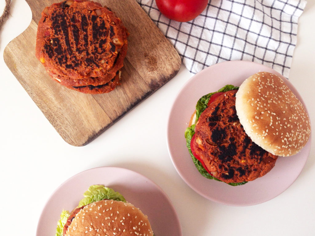 Classic Chickpea Veggie Burgers on a sesame seed bun