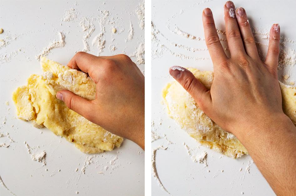 Hand kneading potato gnocchi dough