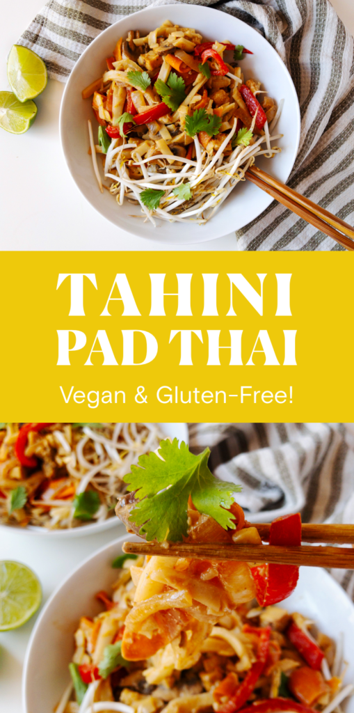 Easy, vegan, gluten-free Tahini Pad Thai recipe.