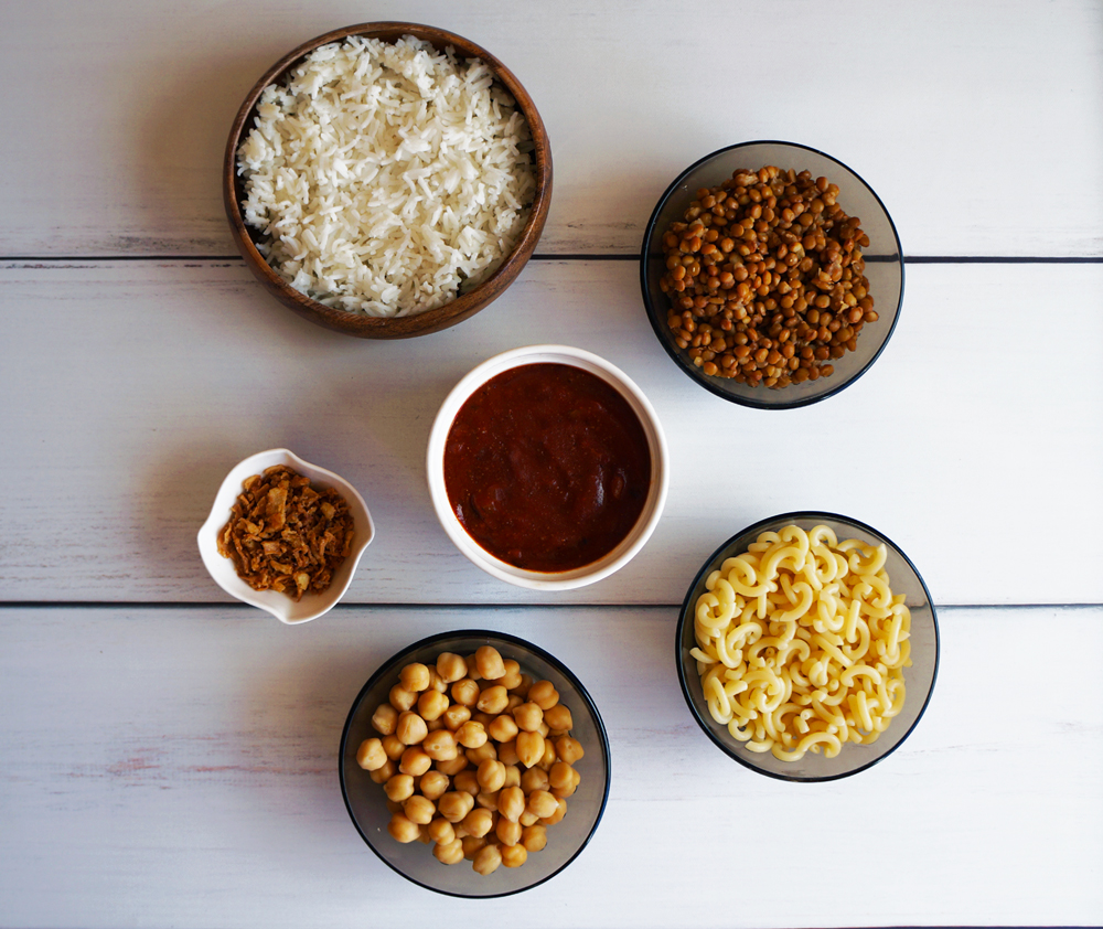 Ingredients to make Koshari; medium grain rice, macaroni, lentils, chickpeas, vinegar tomato sauce, and crispy onions.