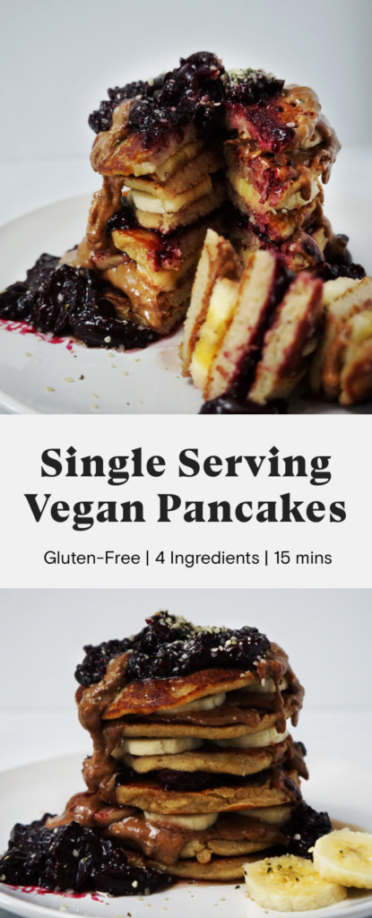Vegan, gluten-free, single-serving pancakes topped with cherry chia jam, almond butter, maple syrup, and bananas.