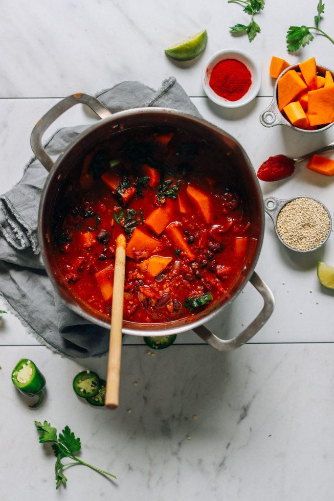 A great vegan pantry recipe – One-pot butternut squash quinoa chili in a large pot.