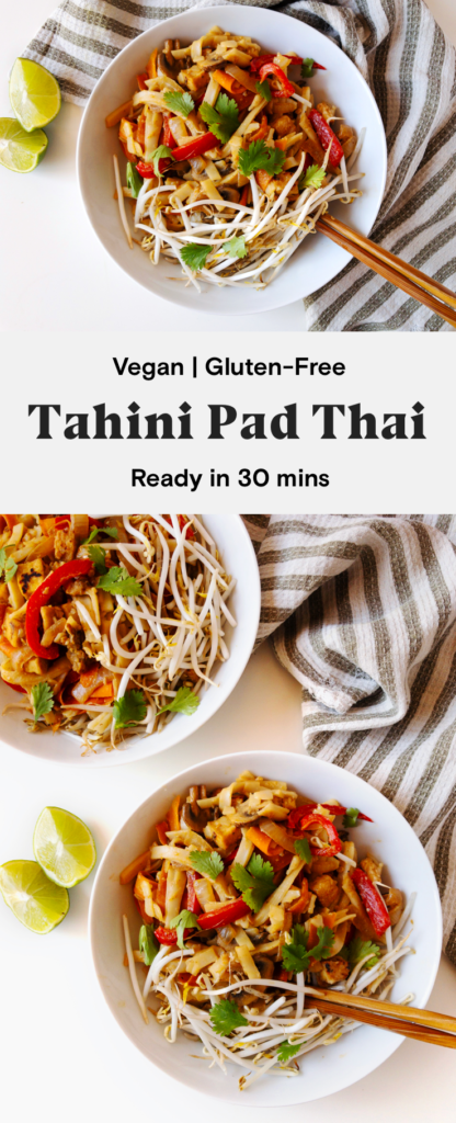This tahini pad thai is a quick and easy dinner that is ready in under 30 minutes! This healthy, gluten-free stir fry is full of rice noodles, tofu, and veggies topped with a creamy tahini lime sauce.