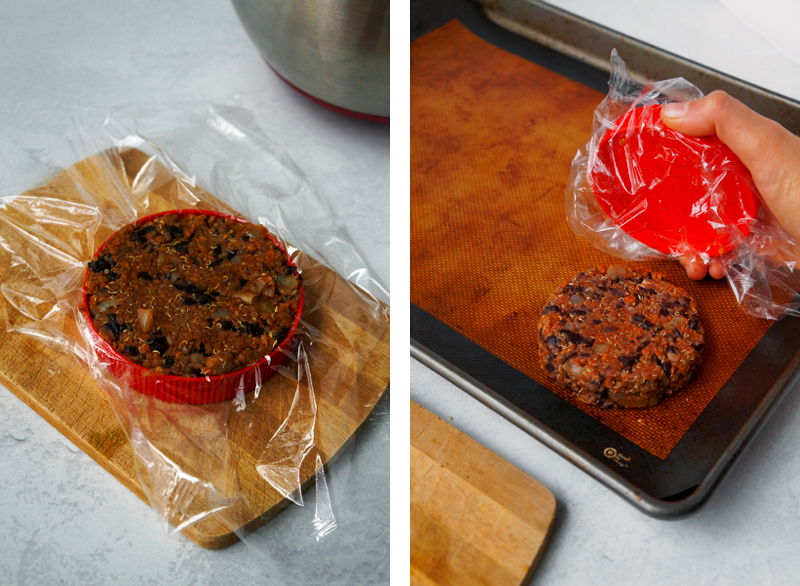 BBQ black bean burger mix in a saran wrap lined peanut butter jar lid, to make the perfect burger patty shape.