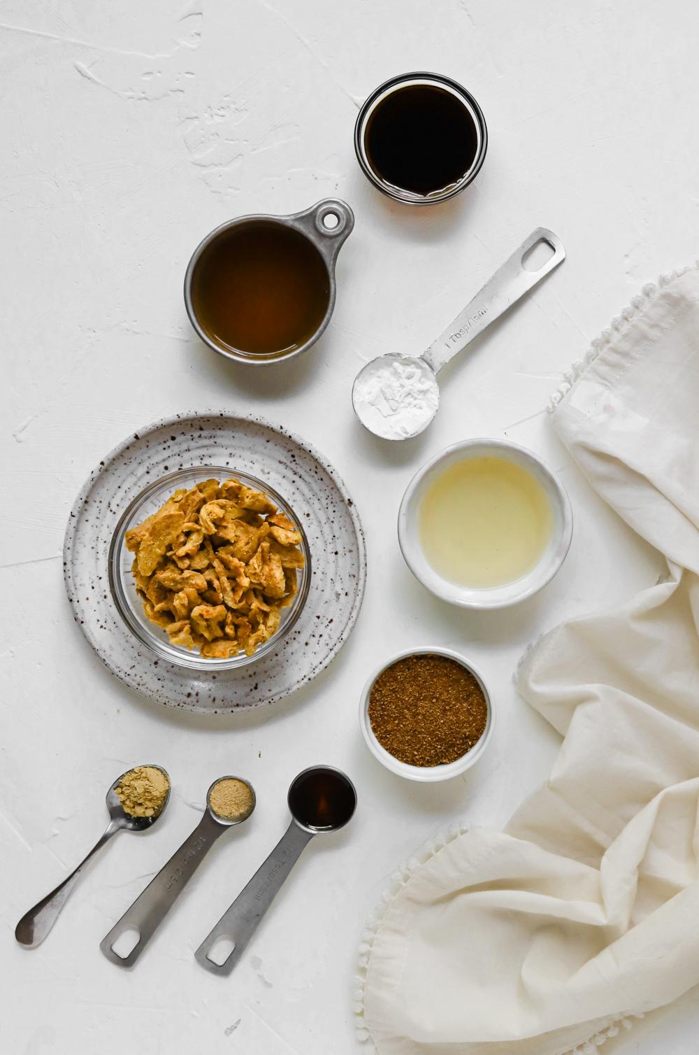 Ingredients to make vegan teriyaki soy curls.