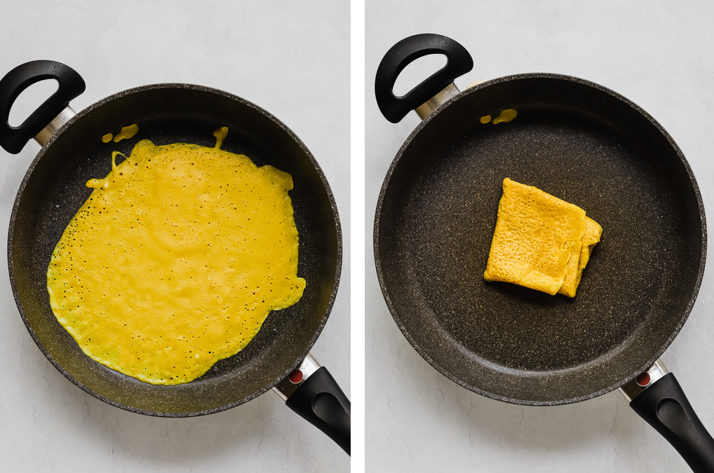 Cooking the vegan egg batter on a large non-stick pan.