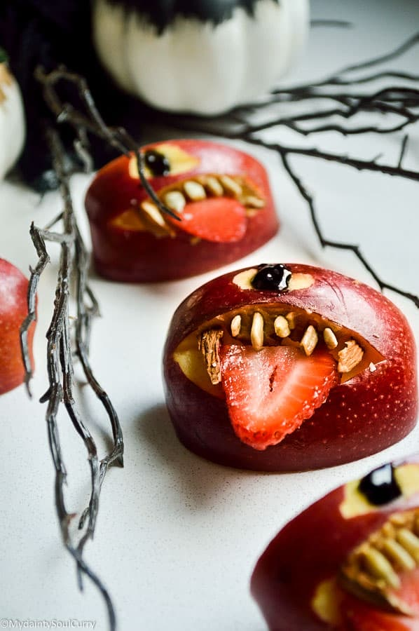 Quick Vegan Halloween Apple Monsters from My Dainty Soul Curry