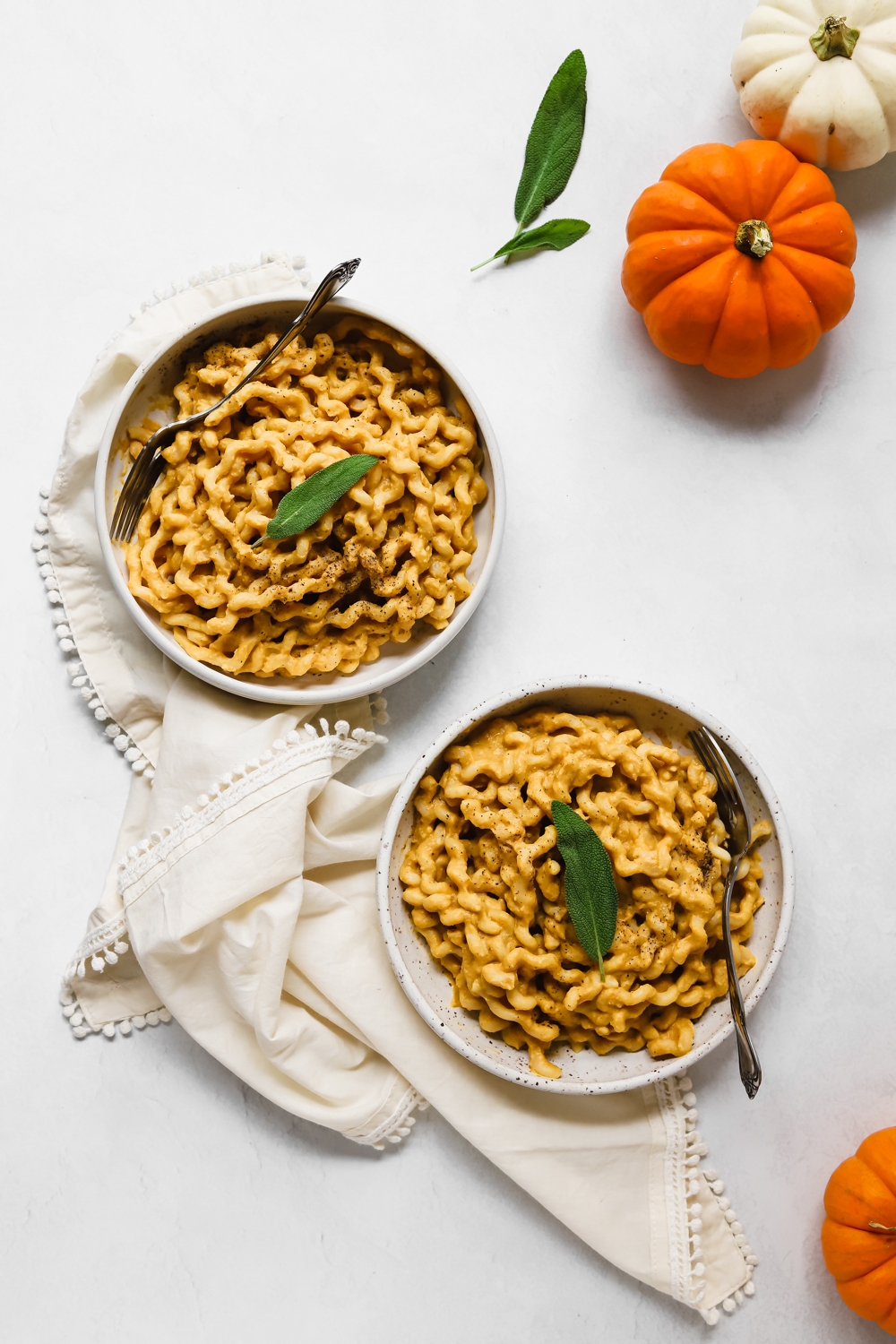Two bowls of pumpkin miso pasta surrounded by sage leaves and mini orange and white pumpkins.