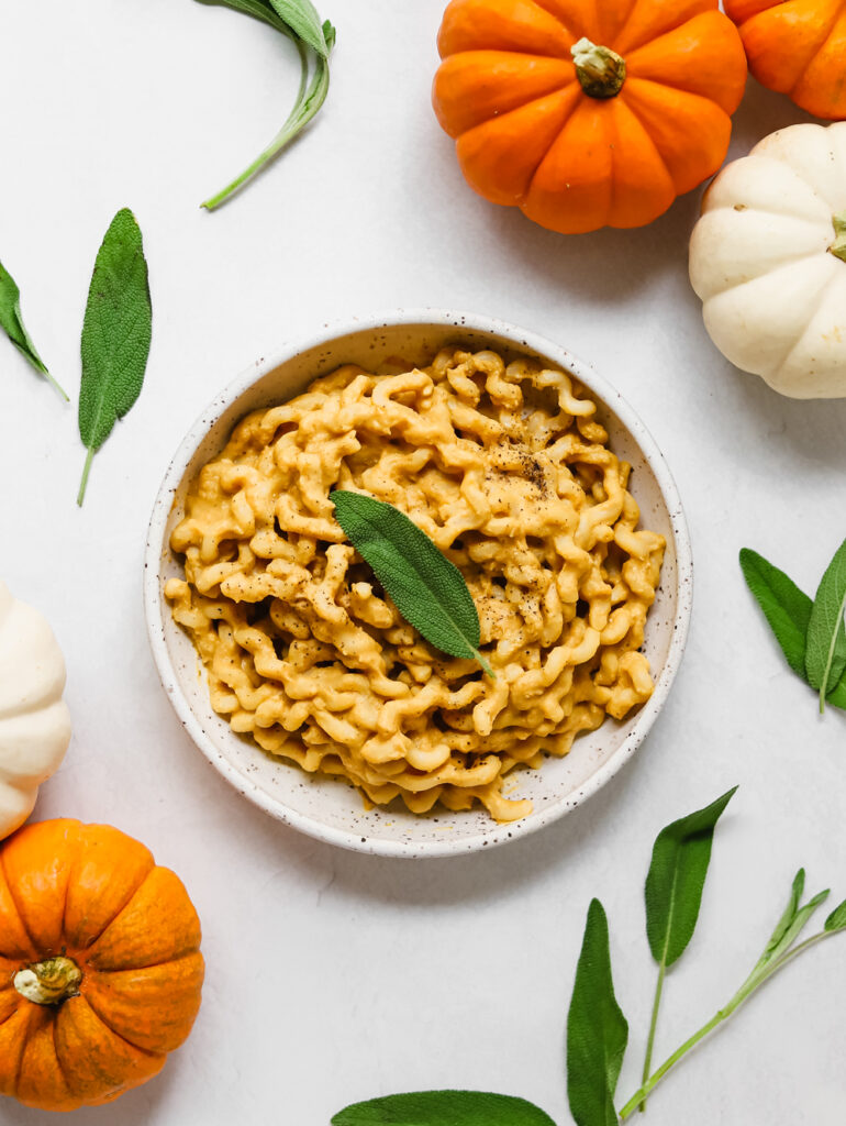 A bowl of pumpkin miso pasta surrounded by sage leaves and mini orange and white pumpkins.