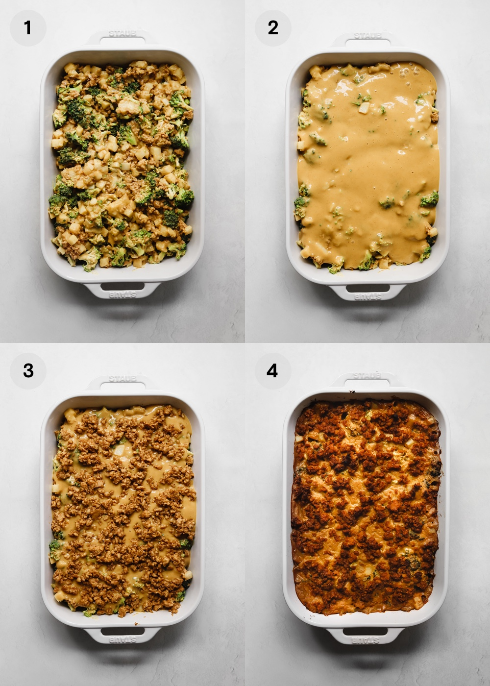 How to assemble a vegan broccoli potato casserole.