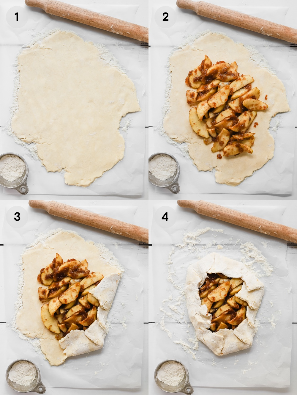How to fold a vegan galette: roll out the dough, add apple pie filling leaving a 2 inch border around the edges, fold the dough partway over the filling overlapping as needed.