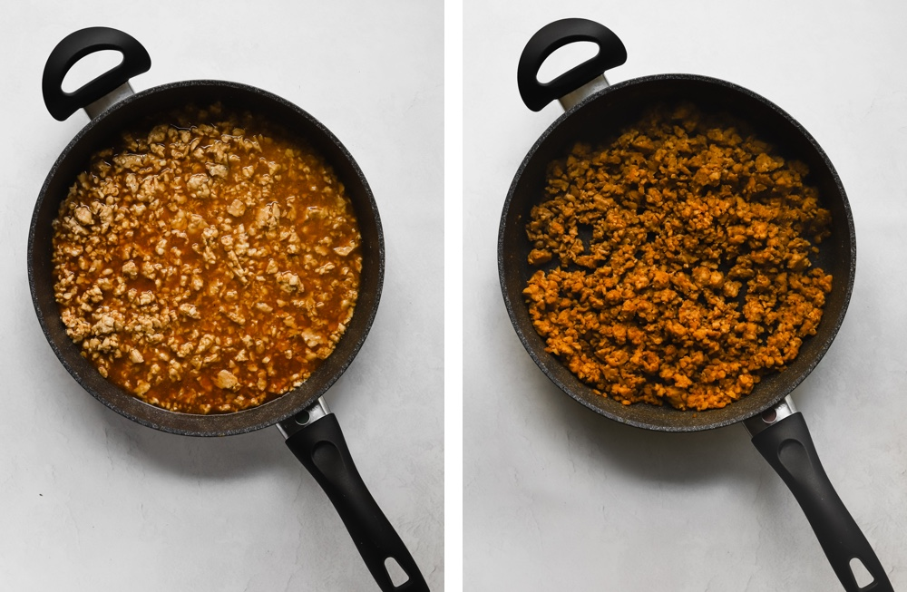 Tempeh sausage crumbles cooking in a large sauce pan.