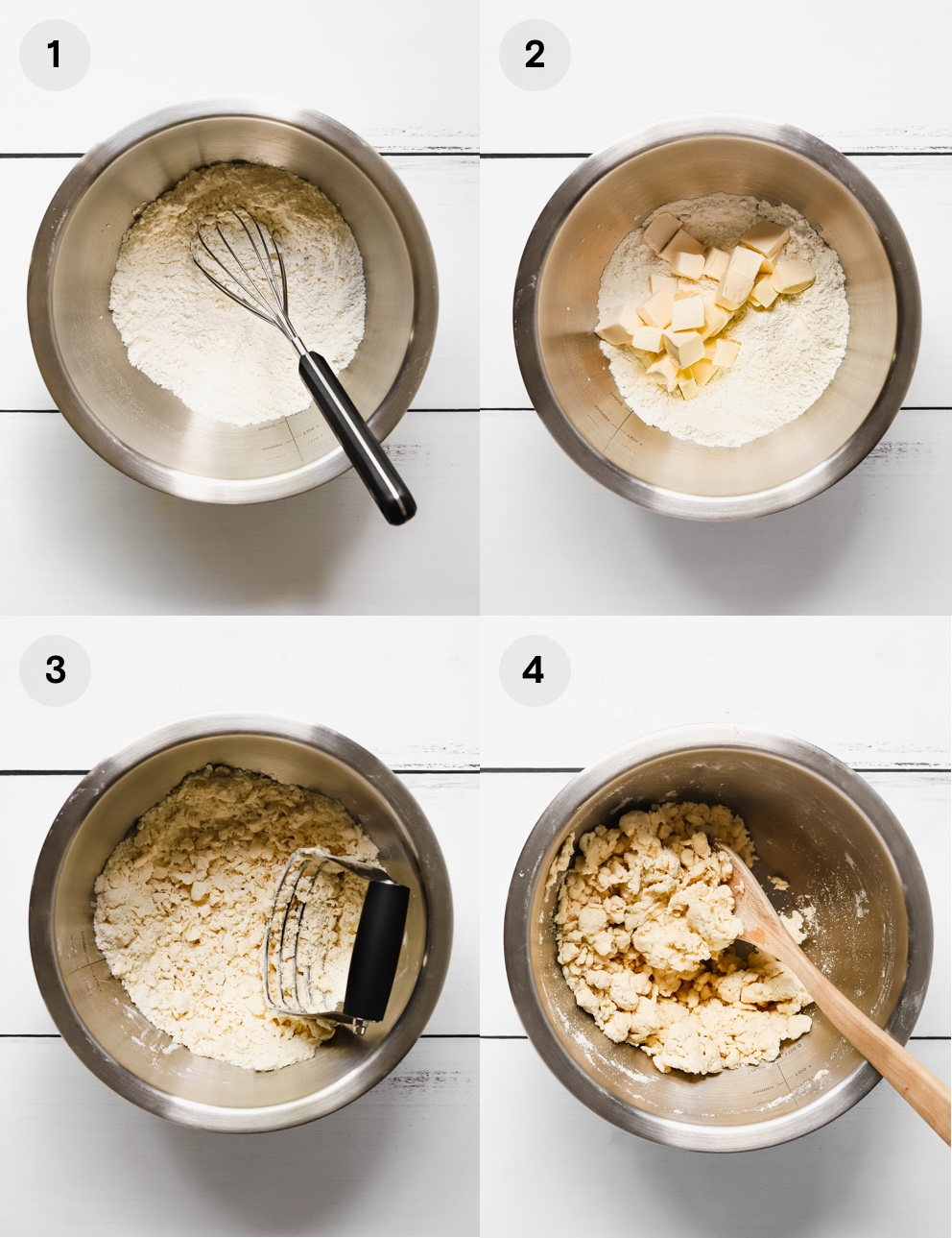 How to make vegan galette dough: whisk the flour and salt, cube the vegan butter, cut the butter into the flour, and stir in the ice water.