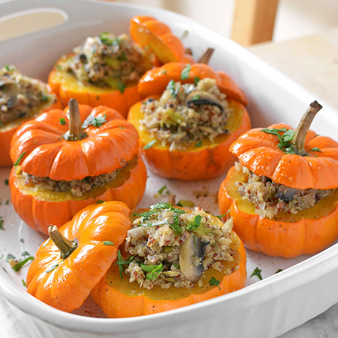 Savory Mushroom and Quinoa Stuffed Mini Pumpkins from Simple Seasonal