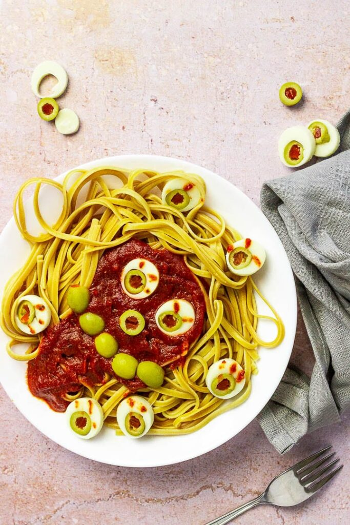 Vegan Halloween Spaghetti with Eyes by VeEat Cook Bake
