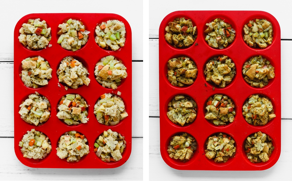 Unbaked and baked stuffing muffins in a red silicone muffin tin.