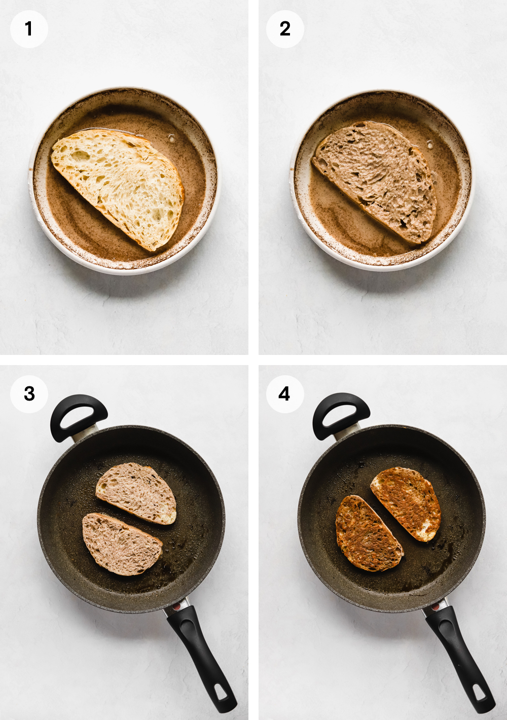 How to make vegan french toast: soaking bread in the french toast batter then drying each side of the bread in a pan