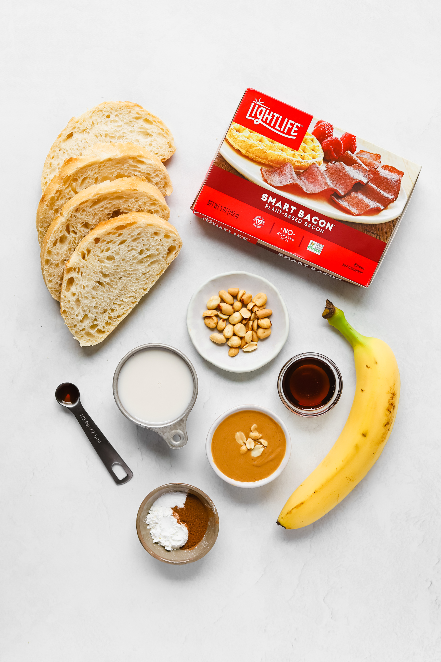 Ingredients to make vegan elvis french toast