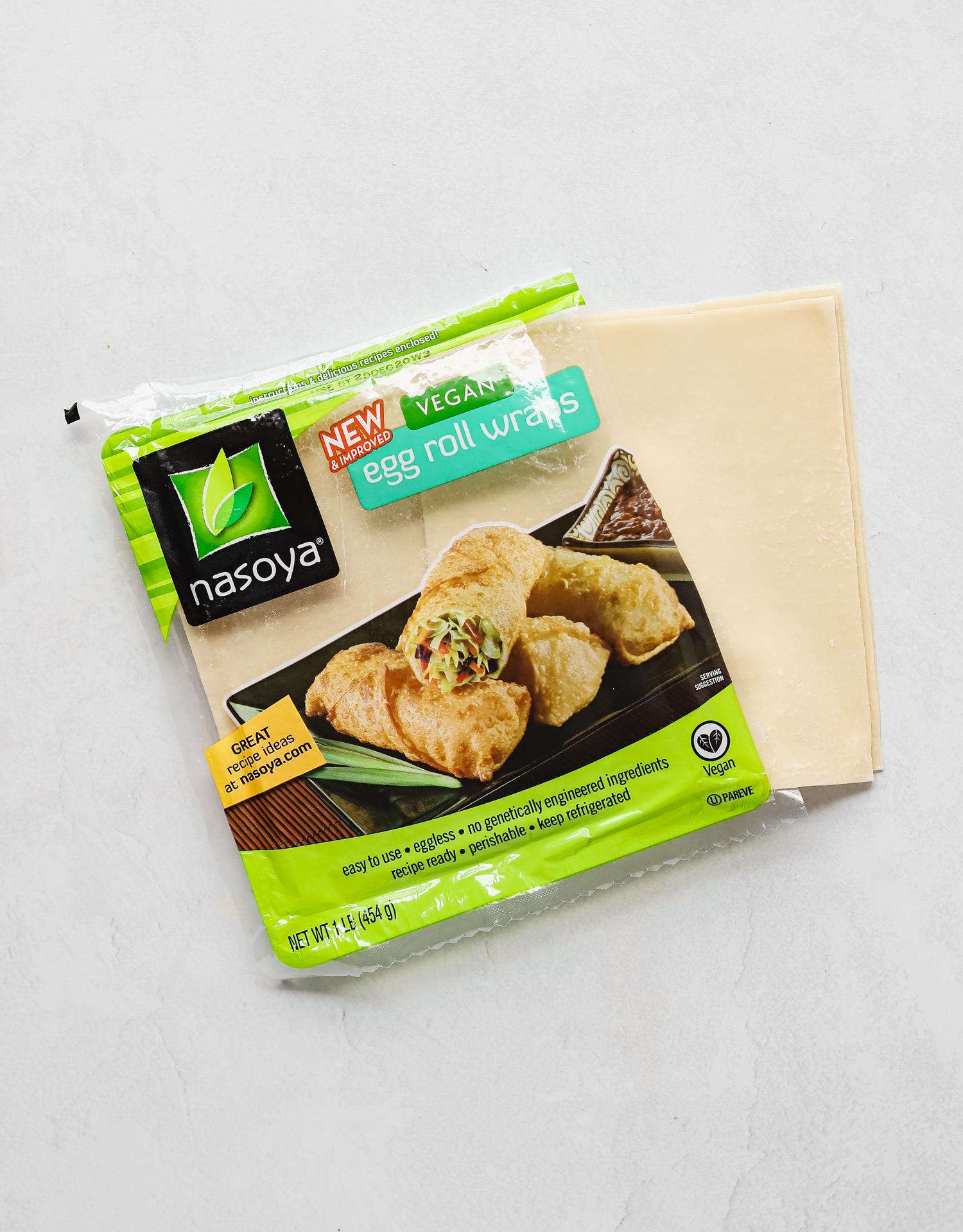 Nasoya vegan egg roll wrap package on a white table