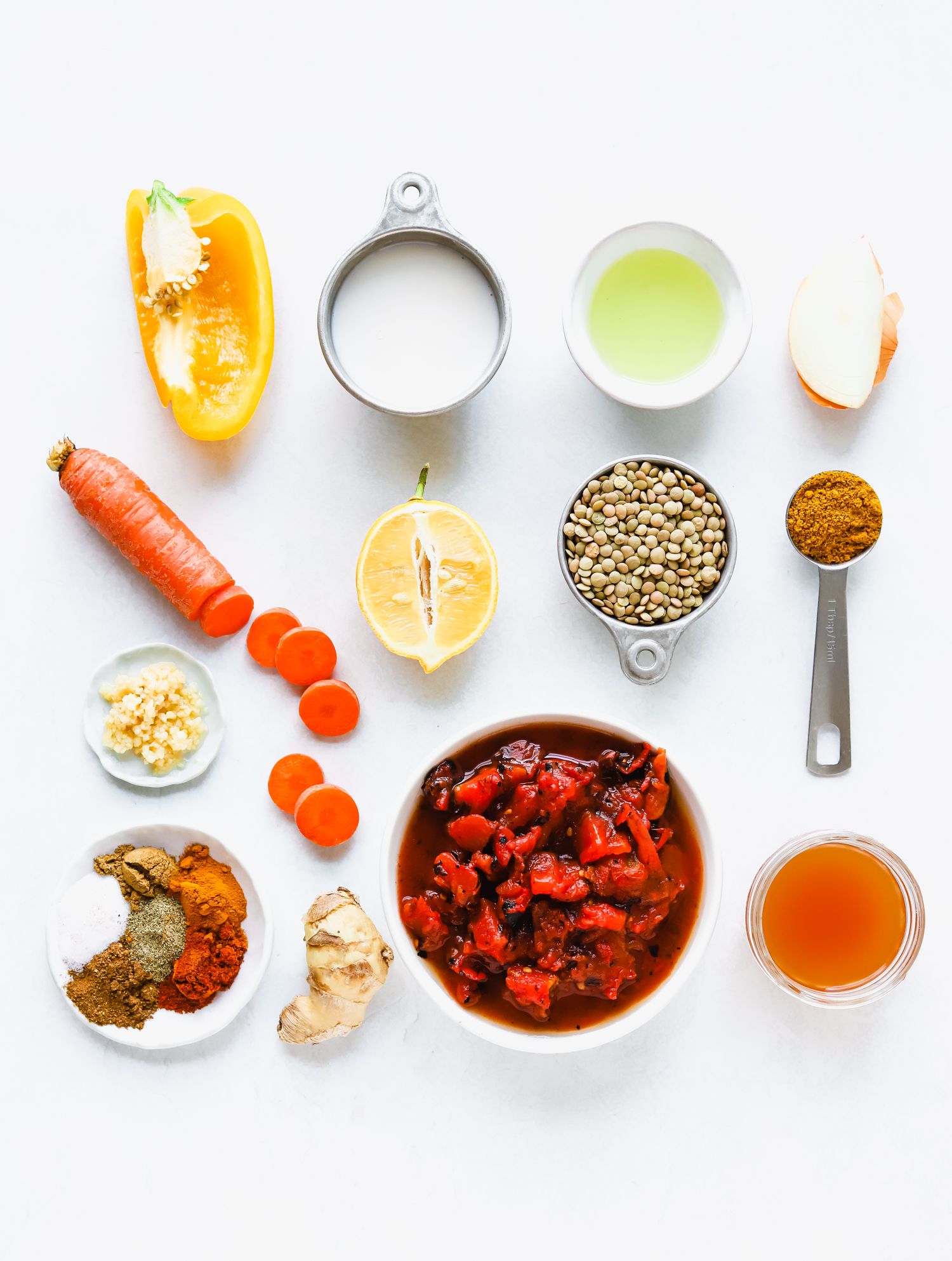 Ingredients for making vegan almond milk lentil curry