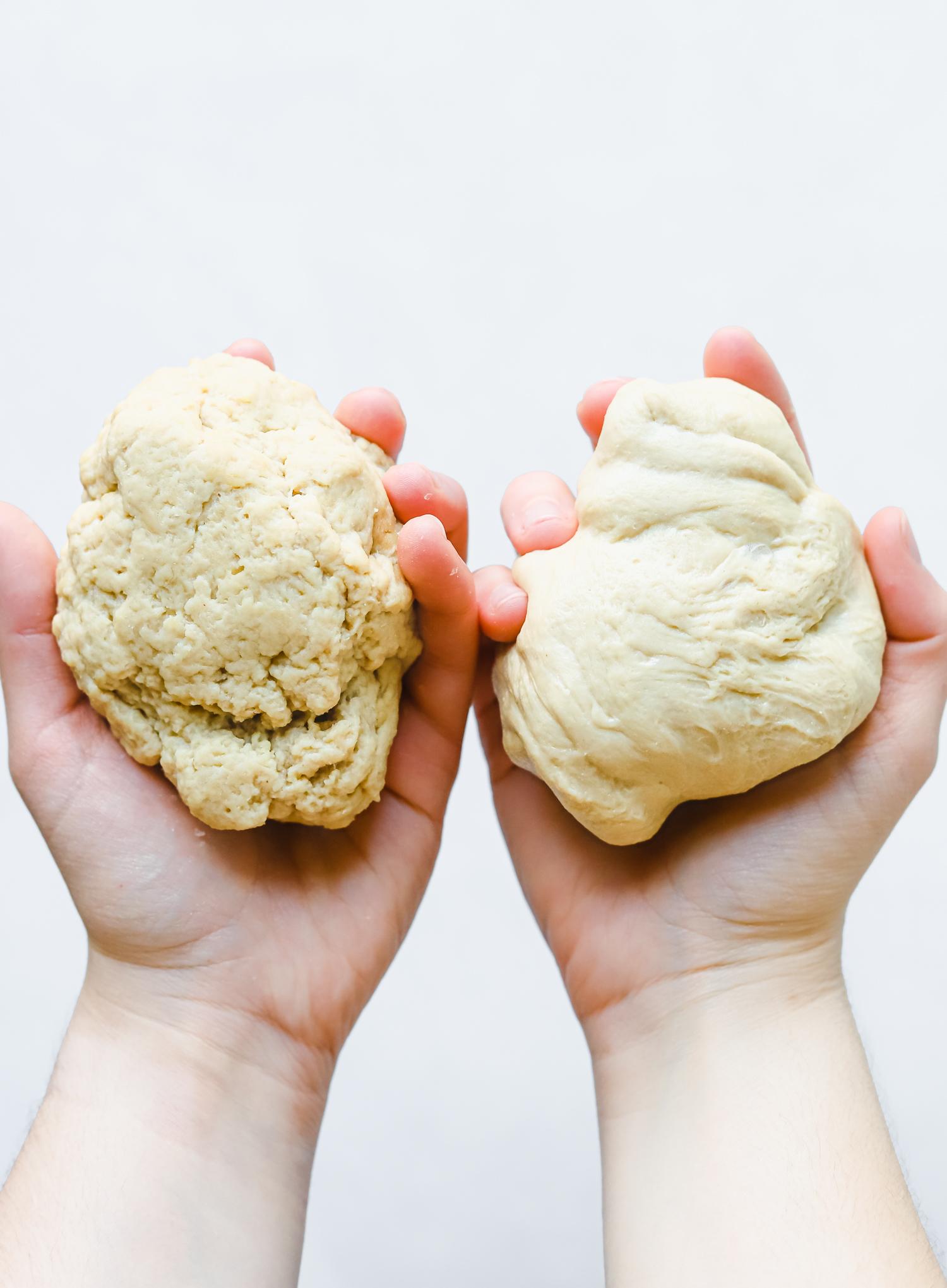 Unkneaded seitan dough and kneaded seitan dough.