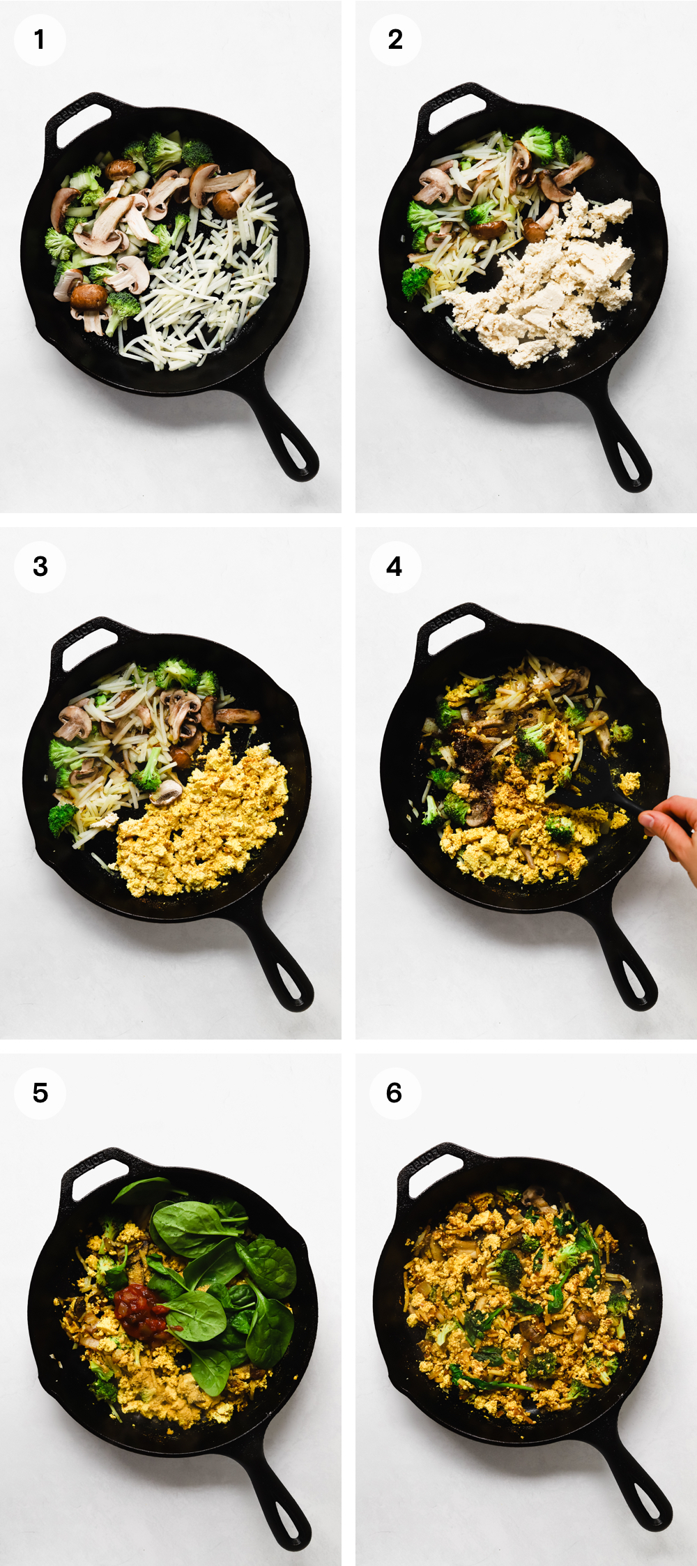 How to make creamy tofu scramble with hash browns, mushrooms, broccoli, onion, and spinach.